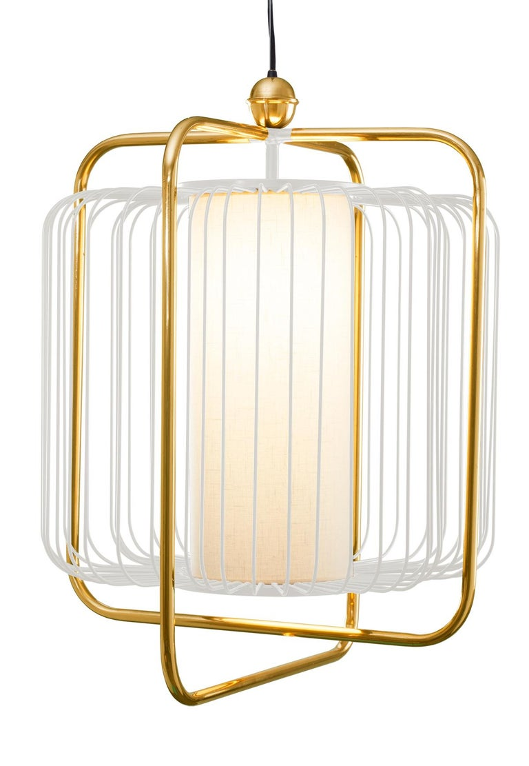 Contemporary Art Deco inspired Jules Pendant Lamp in Brass and Black For Sale 2