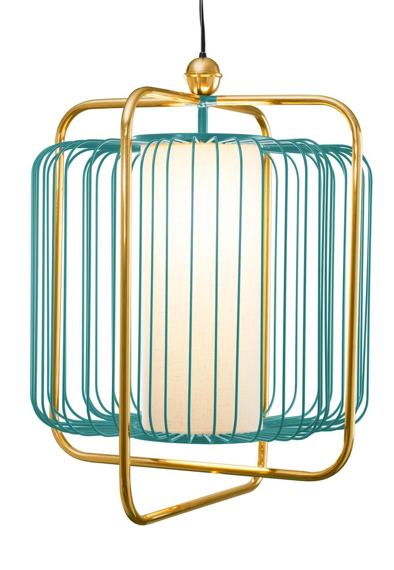 Contemporary Art Deco inspired Jules Pendant Lamp in Brass and Black For Sale 5