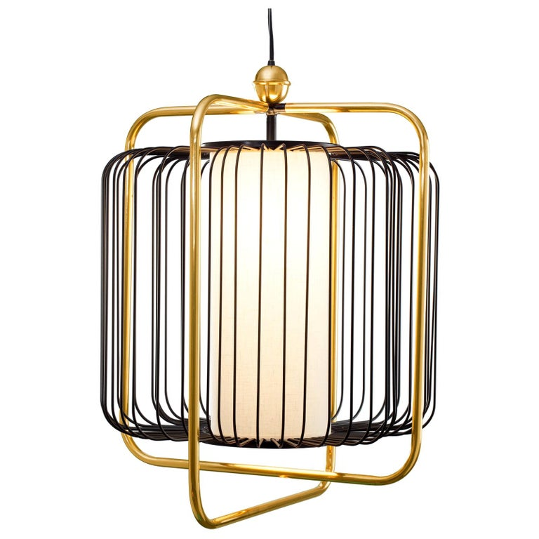 Contemporary Art Deco inspired Jules Pendant Lamp in Brass and Black For Sale