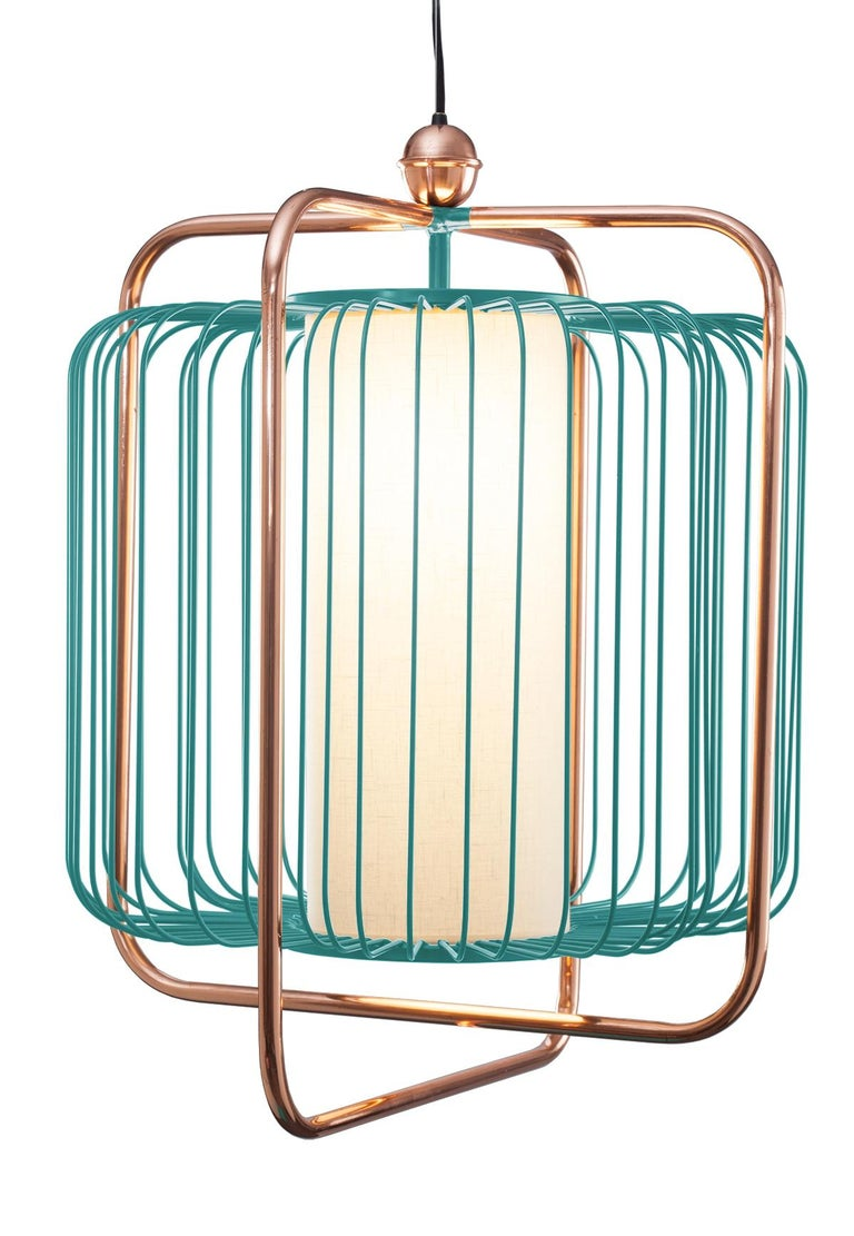 Contemporary Art Deco inspired Jules Pendant Lamp in Copper, Ivory and Linen For Sale 8