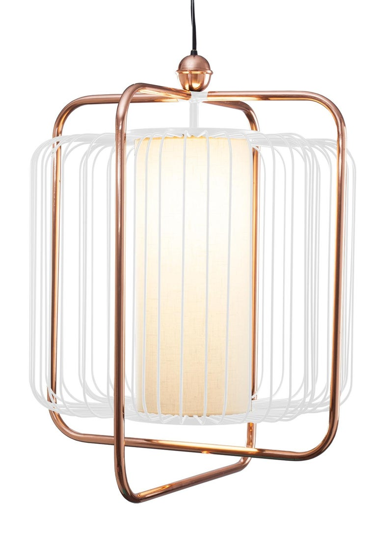 Contemporary Art Deco inspired Jules Pendant Lamp in Copper, Ivory and Linen For Sale 9