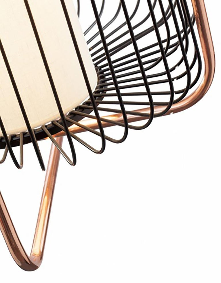 Portuguese Contemporary Art Deco inspired Jules Pendant Lamp in Copper, Ivory and Linen For Sale