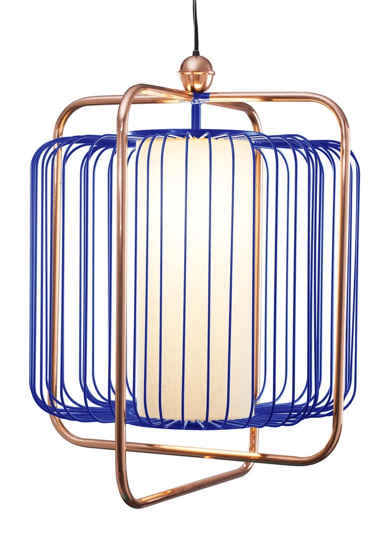 Contemporary Art Deco inspired Jules Pendant Lamp in Copper, Ivory and Linen For Sale 3
