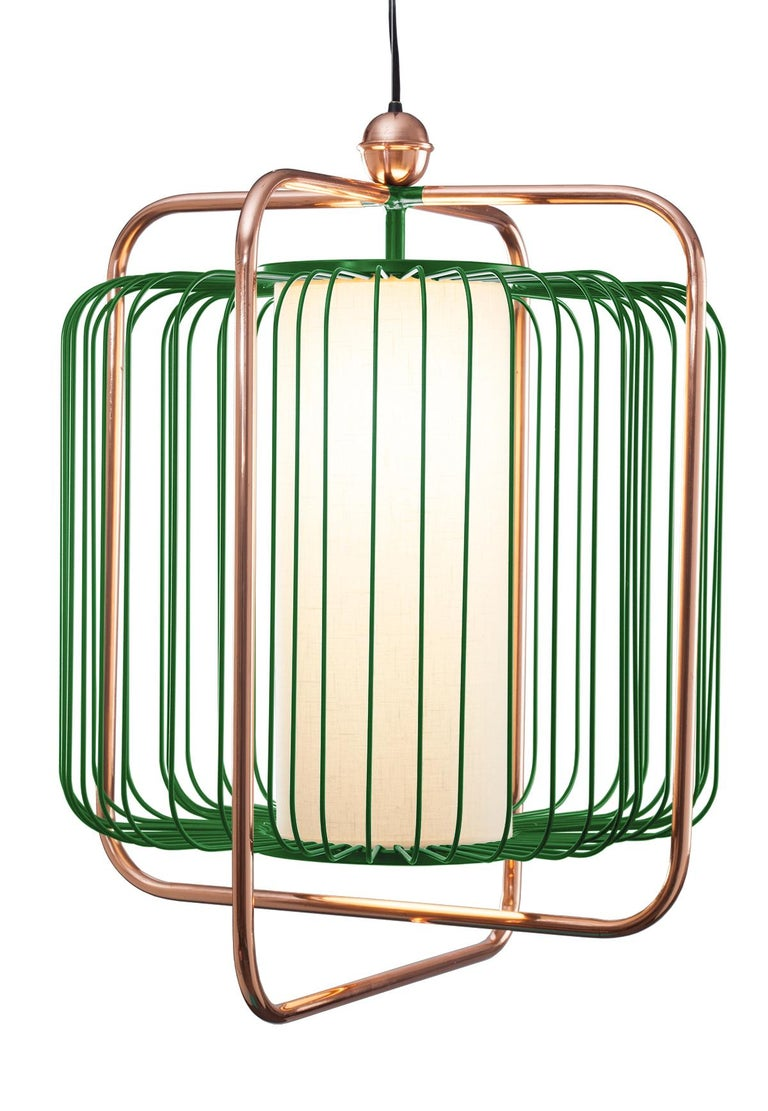 Contemporary Art Deco inspired Jules Pendant Lamp in Copper, Ivory and Linen For Sale 5