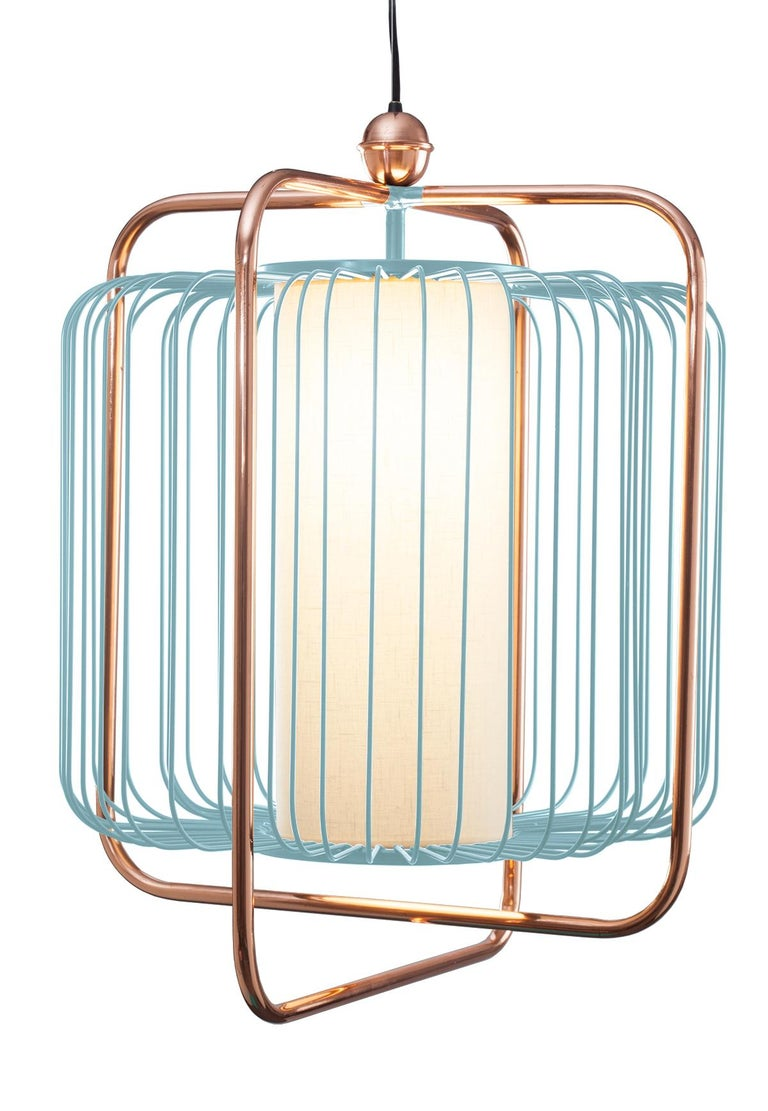 Contemporary Art Deco inspired Jules Pendant Lamp in Copper, Ivory and Linen For Sale 6