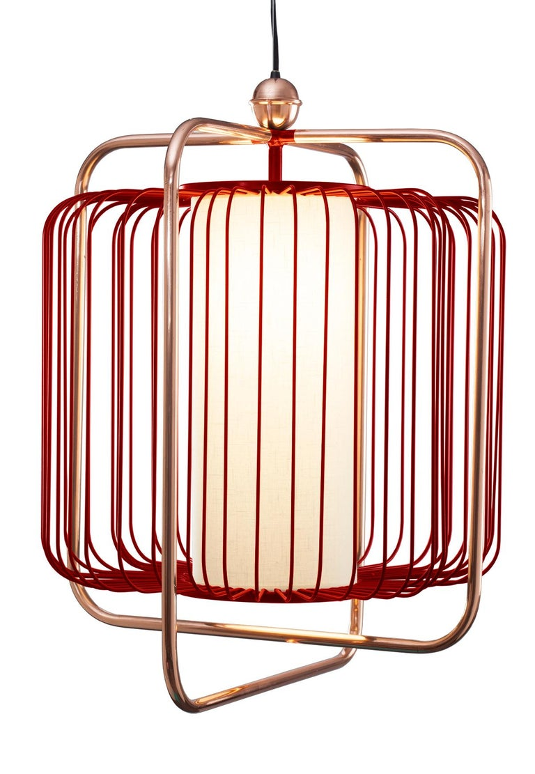 Contemporary Art Deco inspired Jules Pendant Lamp in Copper, Ivory and Linen For Sale 7