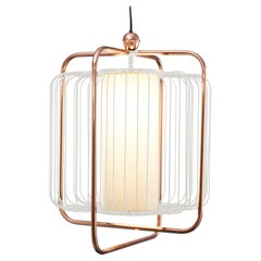 Contemporary Art Deco inspired Jules Pendant Lamp in Copper, Ivory and Linen