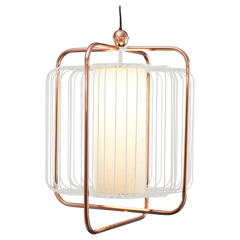 Contemporary Art Deco inspired Jules Pendant Lamp in Copper, Ivory and Linen For Sale