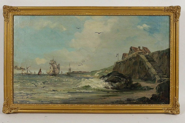 A lovely scene of Navy, oil on canvas signed on a lower right by the French marine painter, Jules Véron-Faré.