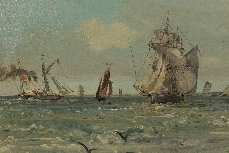 Oiled Jules Véron-Faré, Late 19th Century Oil on Canvas, Scene of Navy For Sale