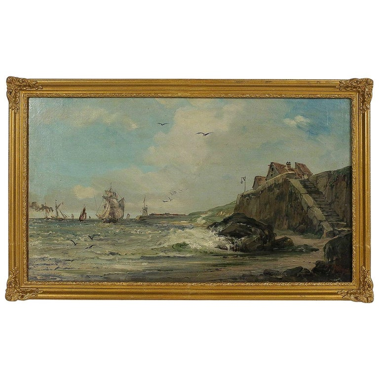 Jules Véron-Faré, Late 19th Century Oil on Canvas, Scene of Navy For Sale