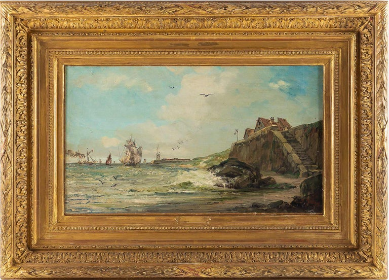 Jules Véron-Faré, oil on canvas scene of navy, circa 1880-1890.  Excellent oil on canvas depicting a French late 19th century Navy scene. In his original gilt-wood frame, our painting is signed on a lower right by the French marine painter, Jules