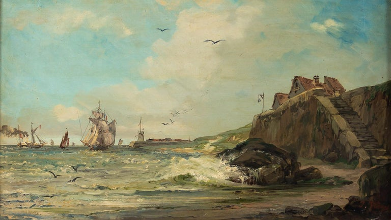 French Jules Véron-Faré Oil on Canvas Scene of Navy, circa 1880-1890 For Sale