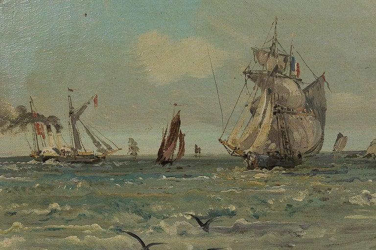 Oiled Jules Véron-Faré Oil on Canvas Scene of Navy, circa 1880-1890 For Sale