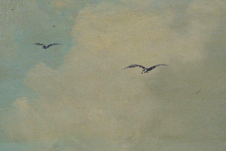 19th Century Jules Véron-Faré Oil on Canvas Scene of Navy, circa 1880-1890 For Sale