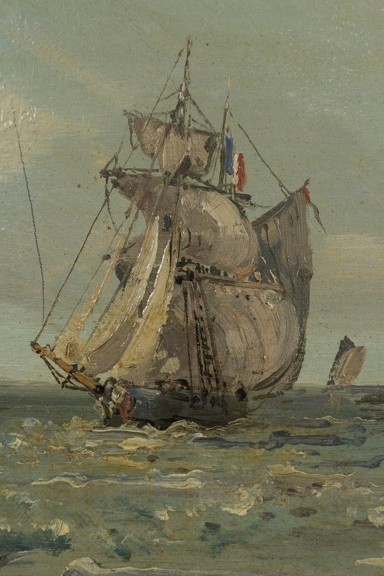 Jules Véron-Faré Oil on Canvas Scene of Navy, circa 1880-1890 For Sale 1