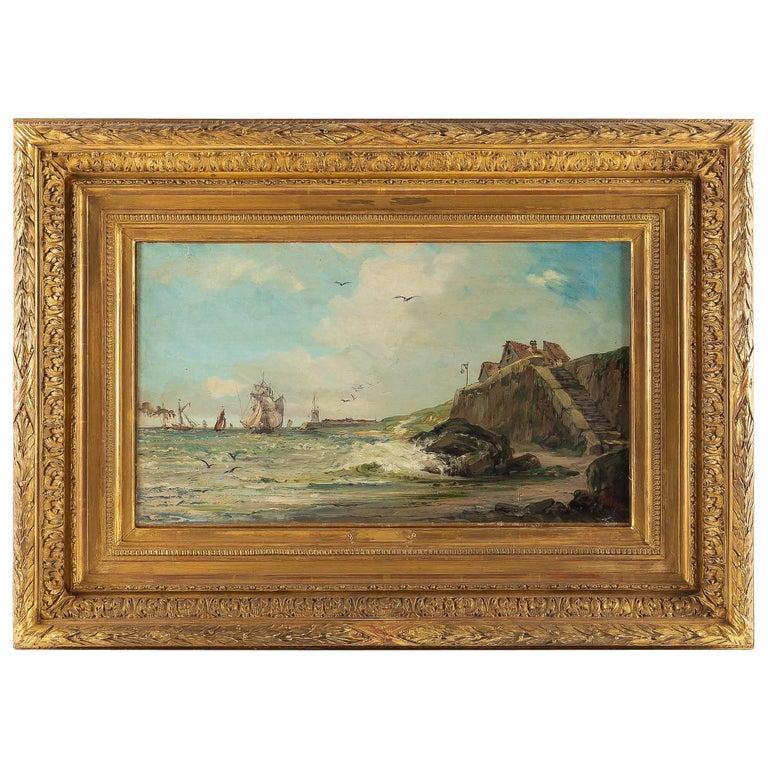 Jules Véron-Faré Oil on Canvas Scene of Navy, circa 1880-1890 For Sale