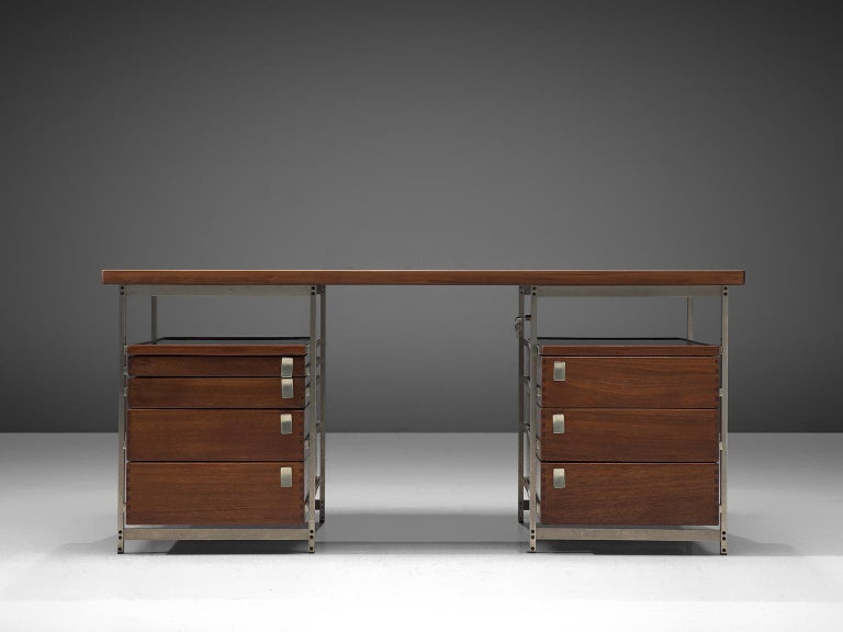 Jules Wabbes, writing desk from the Foncolin building, mutenyé and nickel-plated metal, Belgium, 1957, number no. 15.  Beautiful designed desk by one of Belgium's most renowned designers Jules Wabbes. This piece is made for the Foncolin building,
