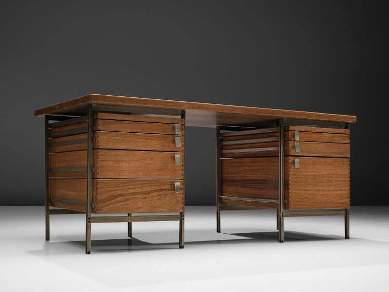 Jules Wabbes, writing desk from the Foncolin building with drawers, mutenyé and nickel-plated metal, Belgium, 1957.  Beautiful designed desk by one of Belgium's most renowned designers Jules Wabbes. This piece is made for the Foncolin building,