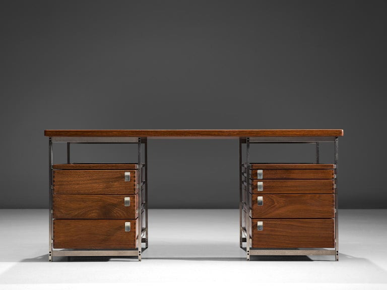 Mid-Century Modern Jules Wabbes Desk In Mutenyé Wood Made For The Foncolin Building Brussels For Sale