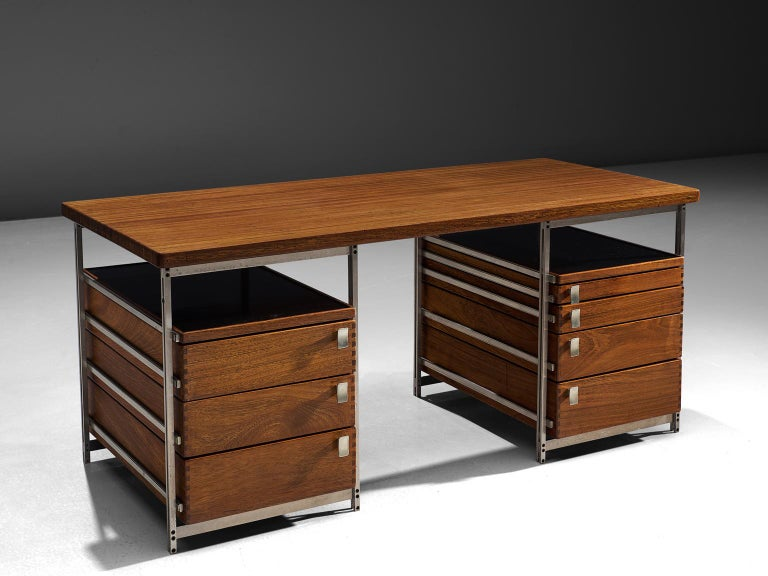 Belgian Jules Wabbes Desk In Mutenyé Wood Made For The Foncolin Building Brussels For Sale