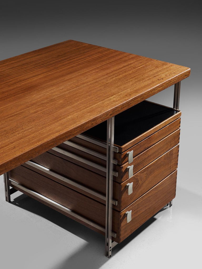 Jules Wabbes Desk In Mutenyé Wood Made For The Foncolin Building Brussels In Excellent Condition For Sale In Waalwijk, NL