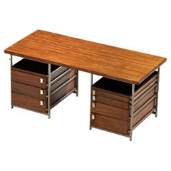 Jules Wabbes Desk with Drawers in Mutenyé and Metal