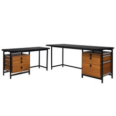 Jules Wabbes Early Executive Desk in Teak and Metal