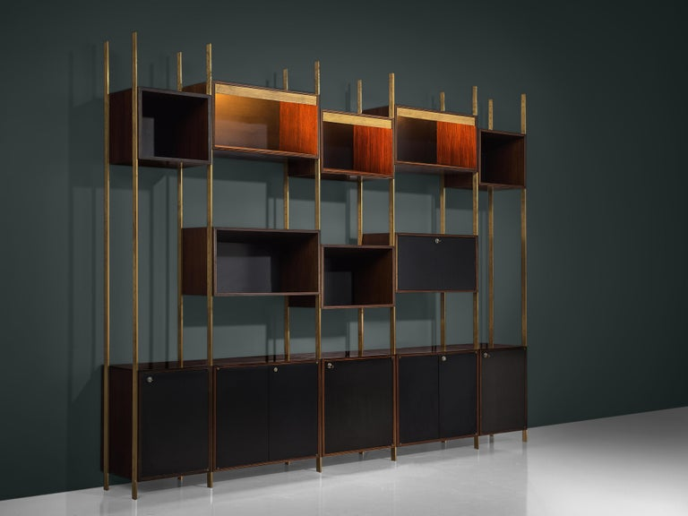Belgian Jules Wabbes Illuminated Bookcase in Rosewood and Brass For Sale