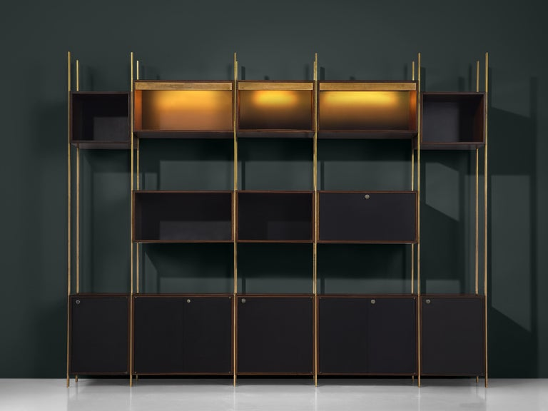 Mid-20th Century Jules Wabbes Illuminated Bookcase in Rosewood and Brass For Sale