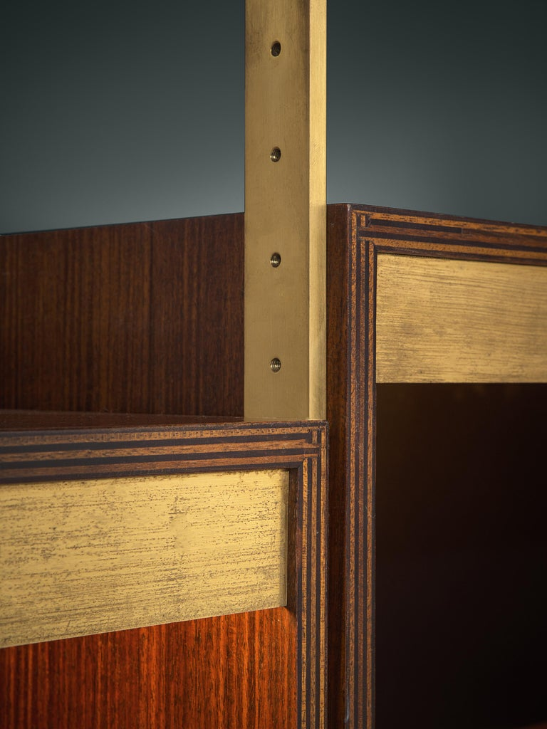 Jules Wabbes Illuminated Bookcase in Rosewood and Brass For Sale 1