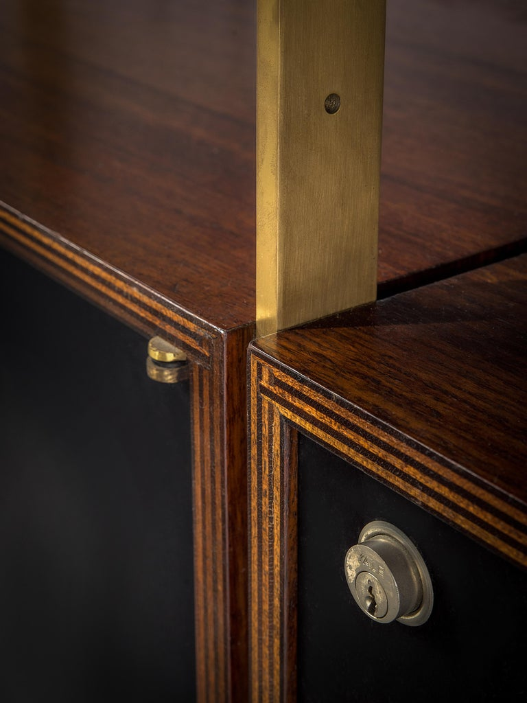 Jules Wabbes Illuminated Bookcase in Rosewood and Brass For Sale 3