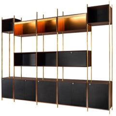 Jules Wabbes Illuminated Bookcase in Rosewood and Brass