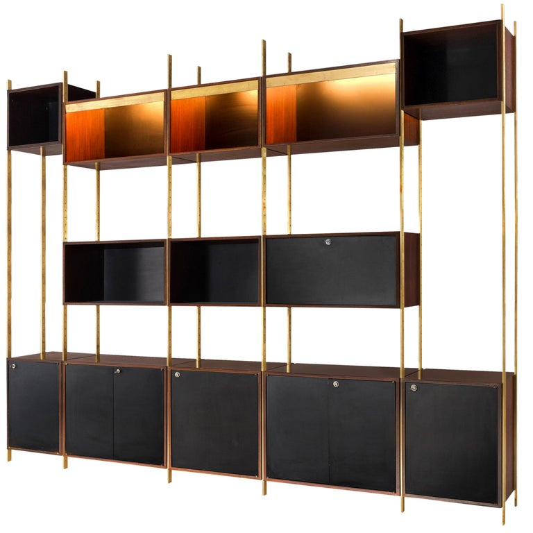 Jules Wabbes Illuminated Bookcase in Rosewood and Brass For Sale