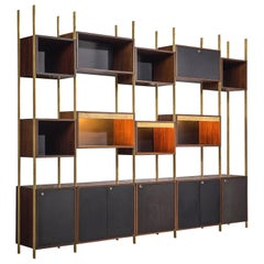 Jules Wabbes Illuminated Library in Rosewood and Brass