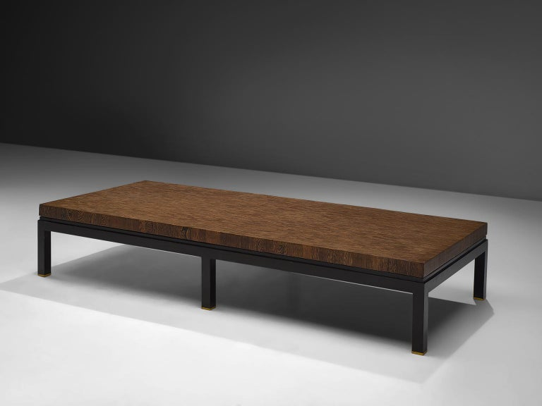 Belgian Jules Wabbes Large Coffee Table in Wengé For Sale