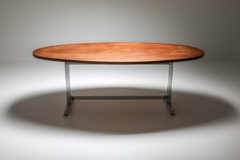 Mid-Century Modern Jules Wabbes Oval Dining Table for Mobilier Universel For Sale
