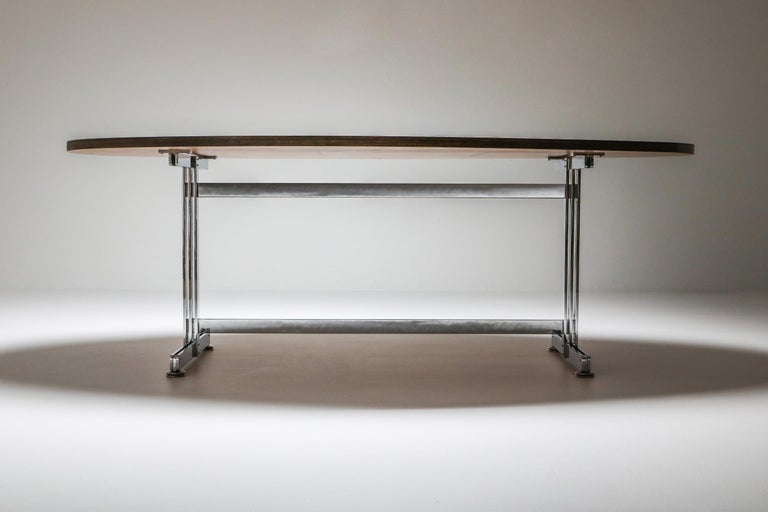 Mid-20th Century Jules Wabbes Oval Dining Table for Mobilier Universel For Sale