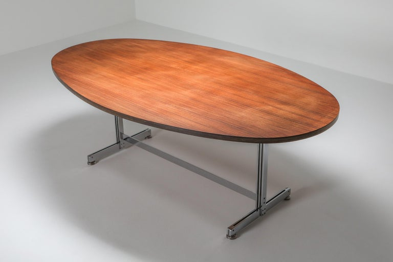 Rosewood Jules Wabbes Oval Dining Table for Mobilier Universel For Sale