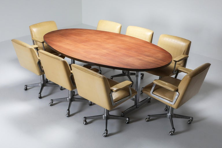 Jules Wabbes Oval Dining Table for Mobilier Universel For Sale 1