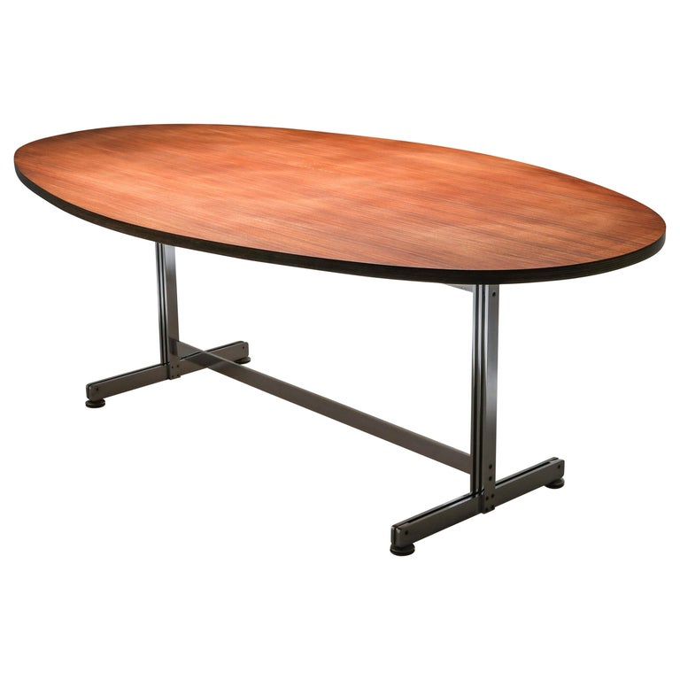 Jules Wabbes Oval Dining Table for Mobilier Universel For Sale