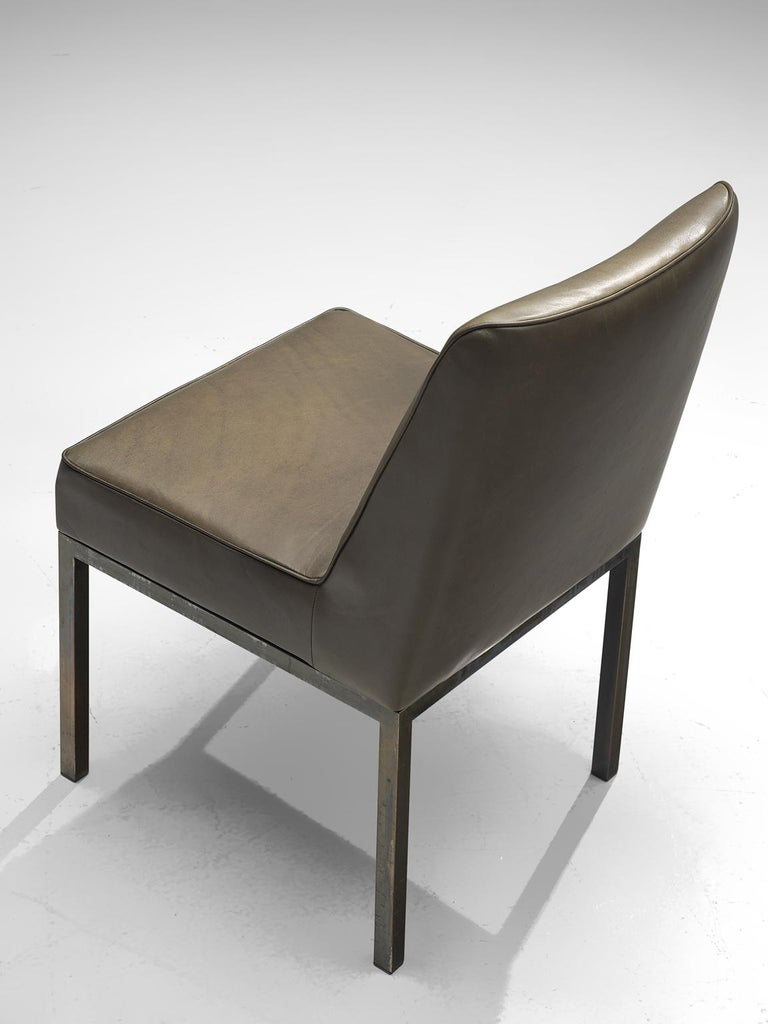 Belgian Jules Wabbes Pair of 'JJW48' Side Chairs Reupholstered in Anthracite Leather For Sale