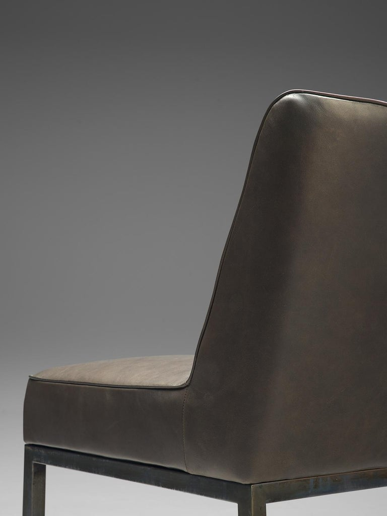 Mid-20th Century Jules Wabbes Pair of 'JJW48' Side Chairs Reupholstered in Anthracite Leather For Sale