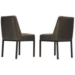 Jules Wabbes Pair of 'JJW48' Side Chairs Reupholstered in Anthracite Leather