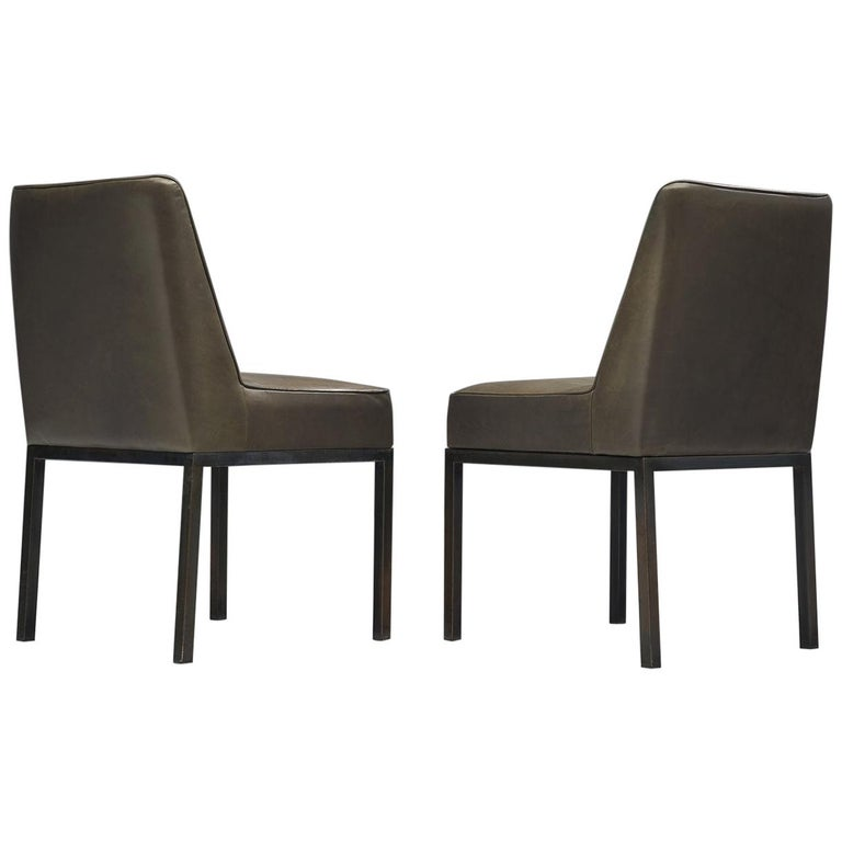 Jules Wabbes Pair of 'JJW48' Side Chairs Reupholstered in Anthracite Leather For Sale