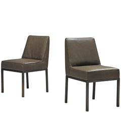 Jules Wabbes Pair of Reupholstered 'Louise' Dining Chairs in Olive Green Leather