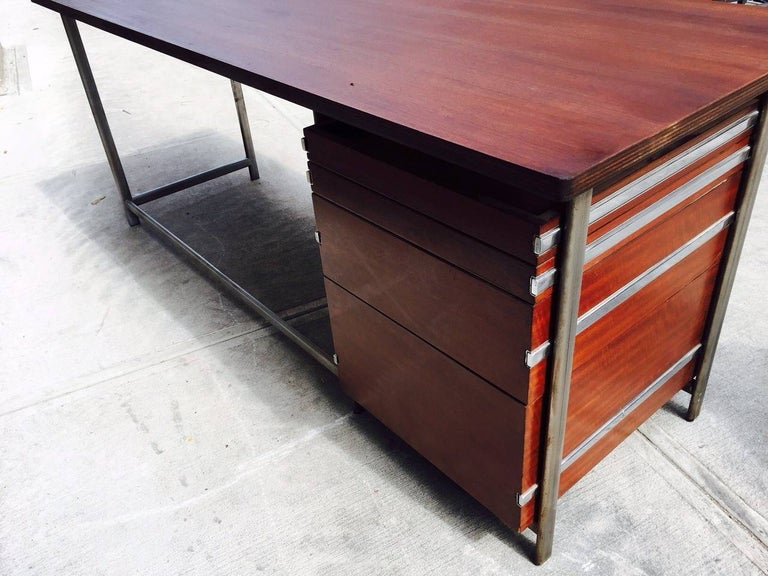 Mid-Century Modern Jules Wabbes Rosewood Desk For Sale