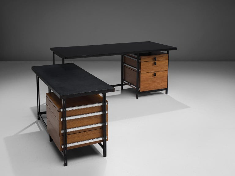 Jules Wabbes, two-part corner writing desk, teak, black metal, chrome, Belgium, 1960s  This free-standing corner desk is designed by Jules Wabbes in the 1960s. It consists out of two tables, each with a chest of drawers, in different heights. Due