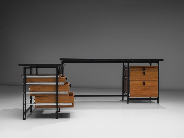 Mid-20th Century Jules Wabbes Versatile Free-Standing Corner Desk For Sale