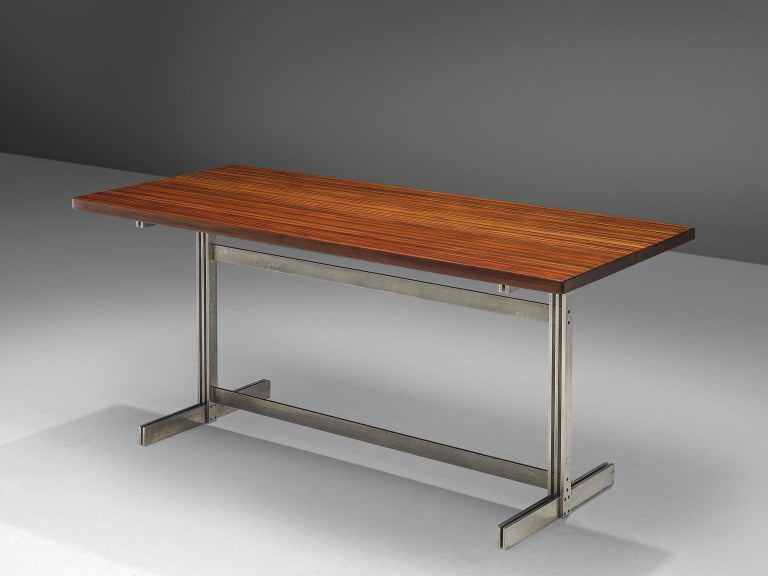 Jules Wabbes for Mobilier Universel, writing table, wenge and metal, Belgium, 1960s   This executive writing table by Jules Wabbes is part of the midcentury design collection. The model eatures a solid wenge wooden top, made out of tangentially-sawn